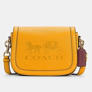 Coach Saddle Bag With Horse And Carriage Crossbody Bag  Gold/Ochre/Vintage Mauve